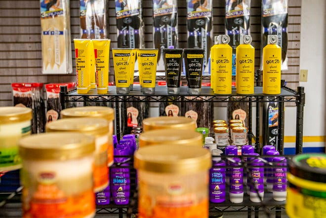 Hair products are on display inside new beauty supply store Beauty Hive Beauty Supply in downtown South Bend.