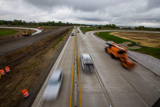 North and southbound traffic move in the eastern most lanes Thursday, May 6, 2021 on U.S. 31 near the Cleveland Road Exit in South Bend. Construction has closed what is normally the southbound lanes and closed multiple exits in the area.
