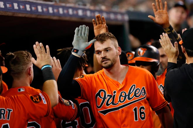 Baltimore outfielder Trey Mancini receives congratulations from teammates after hitting a three run home run against Detroit in Detroit, Sept. 14, 2019.