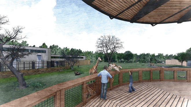 This artist's rendering shows what the new giraffe habitat will look like when it's completed at Potawatomi Zoo in South Bend.