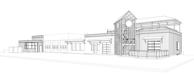 This rendering shows what the expansion of Iron Shoe Distillery in Niles is projected to look like. Owners say construction will begin this week and is scheduled to be complete by the end of summer.
