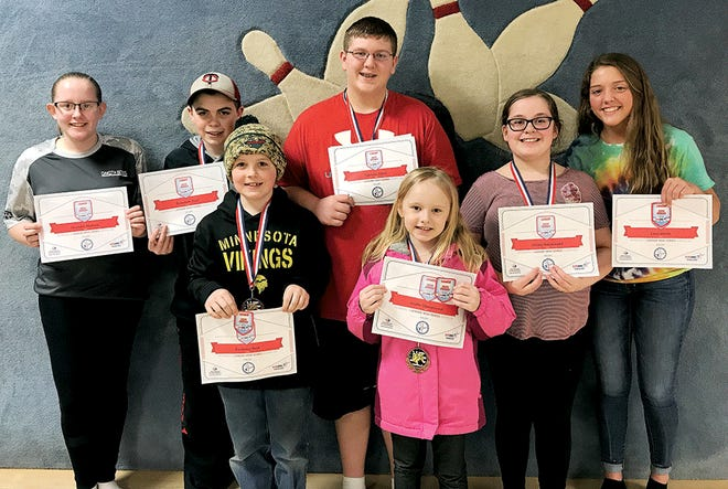 Individual award winners in the Sunday Youth Bowling League at Tommy's Lanes include, from left, Shantel Matejek, Brandon Rost, Zackary Rost, Spencer Stock, Jayda Stangeland, Jersey Karpinske and Alexis Waltz. Other award winners pictured individually below are Madison Park, Leo Karpinske and Chloe Fishbach. Not pictured are Abby Shuller, Gabriel Ashley and Jaxon Wipf.
