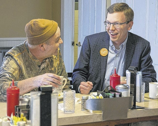 """Congressional candidate Dusty Johnson met with Watertown residents on Wednesday morning at Wheel Inn Cafe to unveil """"Dusty's Dozen,"""" a set of policy proposals."""