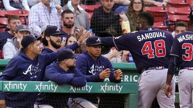 Pablo Sandoval knocked out three hits and scored a run against his old team on Tuesday.