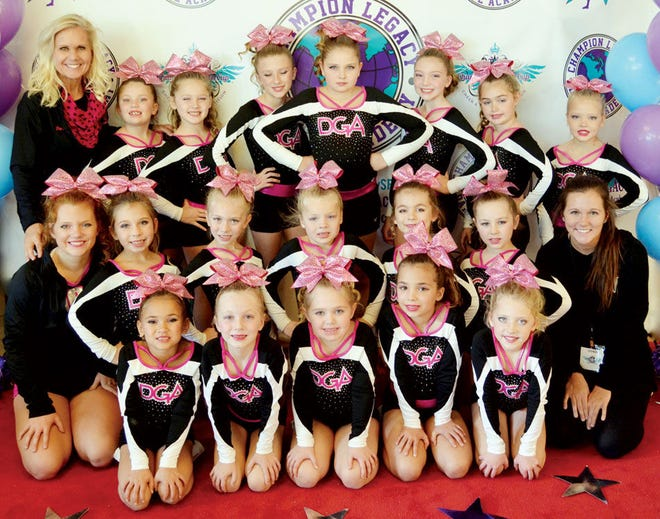 The Dakota Gold Starz cheer squad placed first in the Youth Level 1 division over the weekend in the Champion Crown Cup at Harrisburg. Team members include, from left in front, Zoey White, Jayla Hochstatler, Taylor Buchholz, Kendra Meininger-Cartney and KailynNordquist; middle, coach Abbi Cummings, Emery Gaikowski, Sienna Stanton, Cambria Klatt, Emma Owens, Avery Meyer and coach Alli Cummings; and back, coach Renee Cummings, Lila Bentley, Carighan Klatt, Sierra Schultz, Natalie Meyer, Ava Heaton, Kendra Buchholz and Aubrie Engel. Not pictured is Alicia Riveria. (Courtesy photo)