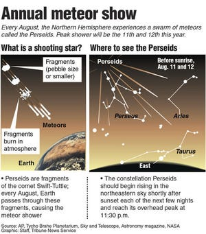 Graphic explaining the Perseids Meteor Shower.