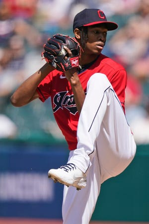 Cleveland starting pitcher Triston McKenzie delivers in the first inning of the first baseball game of a doubleheader against the Chicago White Sox, Monday, May 31, 2021, in Cleveland. (AP Photo/Tony Dejak)