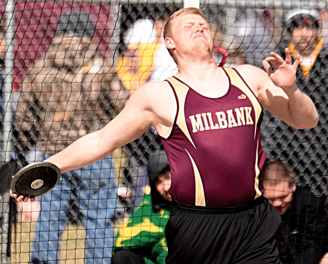 Milbank Area's Mitch Quade readies his attempt in the boys discus during the Sisseton American Legion Relays track and field meet on Friday. The meet lasted late into the evening and results were not made available at the time of press. (Public Opinion photo by Boyd Tesch)