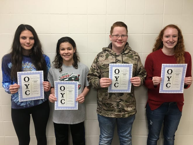 From left, Kate-Lyn Redlinger, Dakota Woertink, Konner Anderson and Madison Park were named the eighth grade Students of the Month. (Courtesy photo)