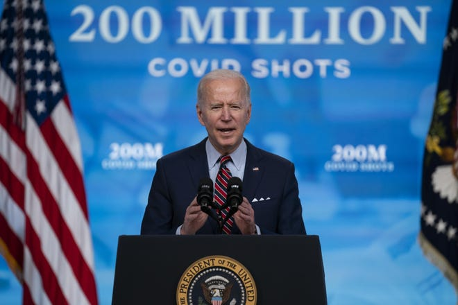 President Joe Biden speaks about COVID-19 vaccinations at the White House in April. The plan is to share millions of doses with the world by the end of June.