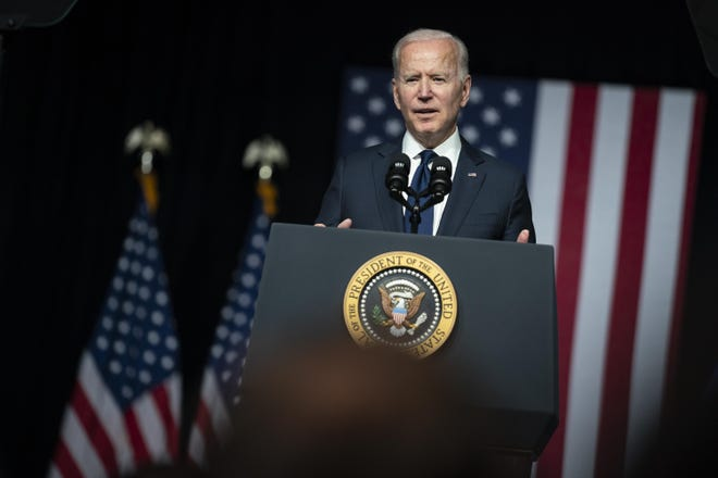 President Joe Biden speaks Tuesday at the Greenwood Cultural Center in Tulsa, Oklahoma, as he commemorates the 100th anniversary of the Tulsa Race Massacre.