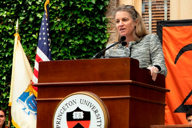 This photo provided by Princeton University shows Princeton athletics director Mollie Marcoux Samaan announcing awards for members of the senior class, at the 2019 Class Day ceremony in Princeton, N.J. The LPGA Tour chose Samaan as its commissioner Tuesday, May 25, 2021, the second woman to lead the tour since its formation in 1950. The LPGA said she would spend the coming months transitioning from Princeton to the LPGA. (Courtesy of Princeton University via AP)