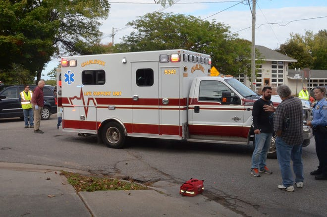 Charlevoix EMS assists at an emergency scene in 2017.