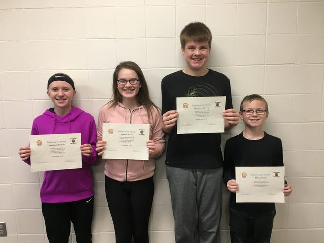 From left, Madysen Rohde, Emma Brist, Izack Redfield and Ethan Knox were named Watertown Middle School's November seventh grade Students of Month. (Courtesy photo)