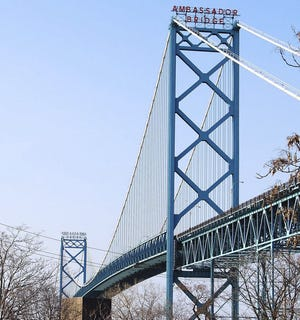 The Ambassador Bridge links Detroit with Windsor, Ontario, Canada. During a call with provincial leaders Thursday, July 15, Canadian Prime Minister said the country could be ready to welcome fully vaccinated travelers by mid-August. In the U.S., lawmakers have been mounting pressure to restore travel between the two countries.