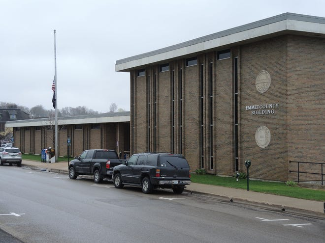 The Emmet County Building in Petoskey is shown.