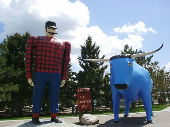 Paul Bunyan and Babe the Blue Ox guard over Bemidji where the lake meets downtown. No trip to Bemidji is complete without a picture with the iconic statues.Photo Courtesy of Visit Bemidji.