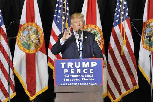 Donald Trump speaks during a campaign event in Sarasota, Fla.