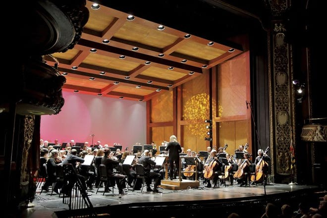 Photo by One Room Media Music Director Elizabeth Schulze leads the Maryland Symphony Orchestra during its Sept. 17 concert at The Maryland Theatre in downtown Hagerstown.