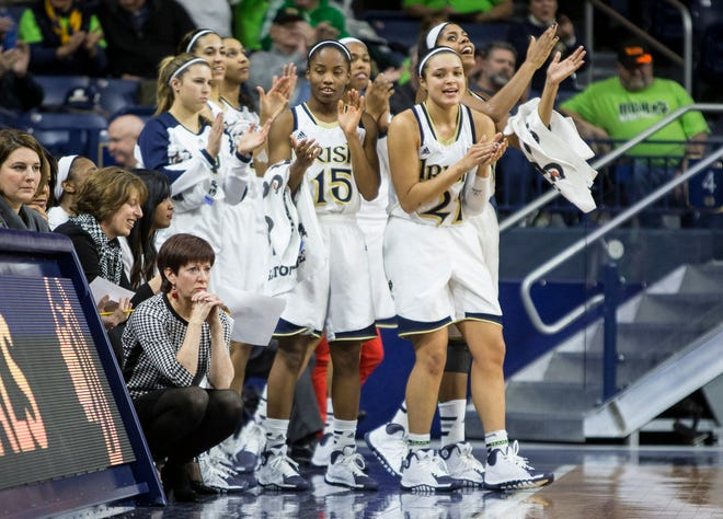 Notre Dame players cheer from the bench during the women's basketball game against South Dakota State on Thursday, Jan. 2, 2014, inside the Purcell Pavilion at Notre Dame in South Bend. SBT Photo/ROBERT FRANKLIN