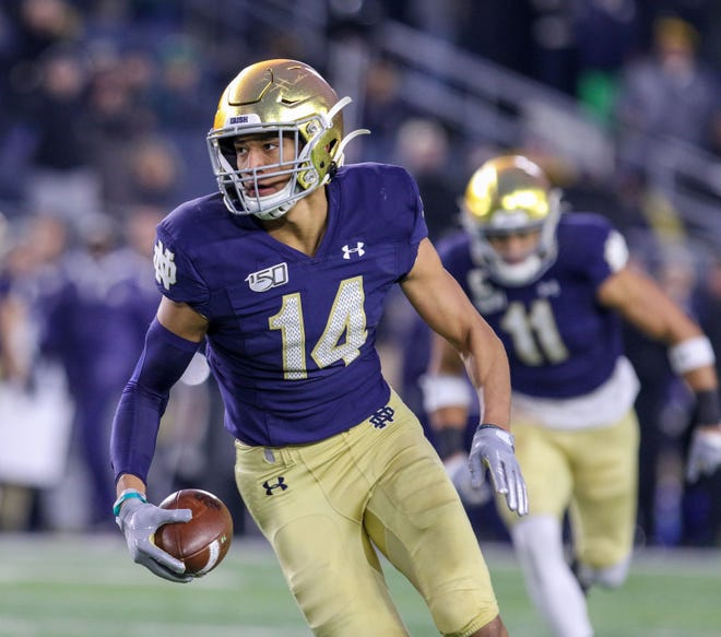 Notre Dame safety Kyle Hamilton took advantage of the NCAA's new name, image and likeness policy on Thursday by making a paid promotion of the YOKE app on his Instagram account shortly after midnight. Photo: Chad Weaver, South Bend Tribune