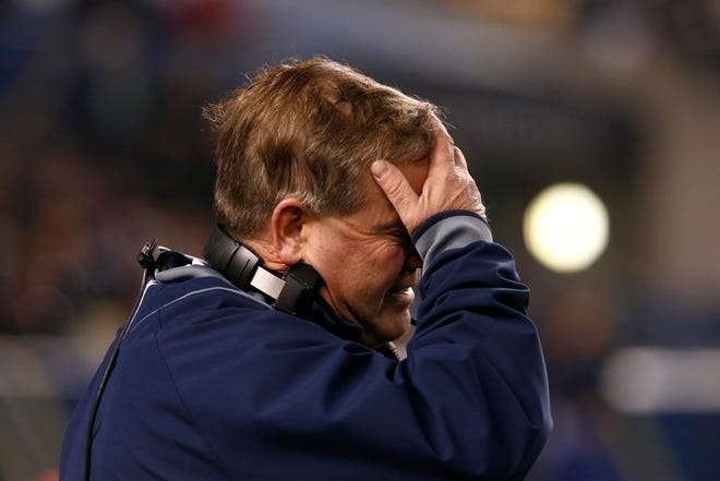 Notre Dame head coach Brian Kelly reacts after talking to an official about a pass interference call during an NCAA college football game on Saturday, Nov. 9, 2013, at Heinz Field in Pittsburgh. SBT Photo/JAMES BROSHER