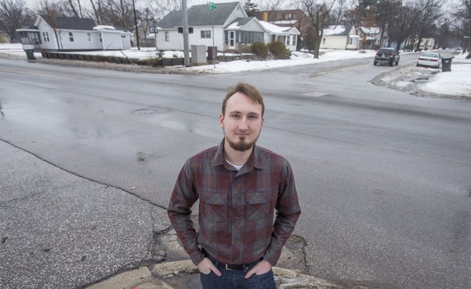 FILE PHOTO. Bradley Tener, founder of South Bend-based business Frost Control Systems, shown here in January 2019. Frost Control and Game Changer, another South Bend business, split the $50,000 Startup South Bend-Elkhart/Elevate Ventures Grand Prize at Notre Dame's recent McCloskeyNew VentureCompetition.