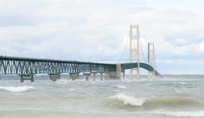 Waves and the Mackinac Bridge meet in Mackinaw City.