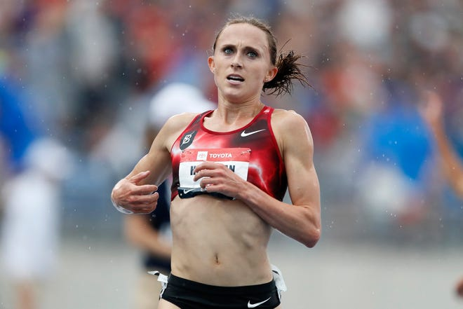 Shelby Houlihan is the American record holder at 1,500 and 5,000 meters.