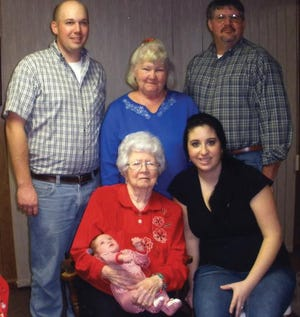 Five generations of a family from Waynesboro, Pa., are shown. Clockwise from top are father, Andy Stoner; great-grandmother, Doris Stoner; grandfather, Lynn Stoner; great-great-grandmother, Edna Mackey, holding great-great-grandson, Blake Allen Stoner; and mother, Becky Stoner.