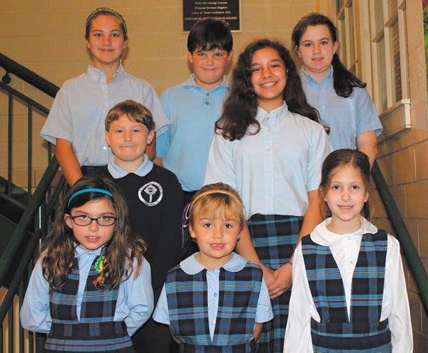St. Mary Catholic School in Hagerstown announced the recipients of the October Good SAM awards. Row one, from left, Madeline Mercurio-Vitulli, Reagan Madrak and Michelle Beck. Row two, Logan Flanagan and Sarah Sardina. Row three, McKenzie Foster, Owen O'Connor and Olivia Ratchford.Not pictured is Cardin Dang.