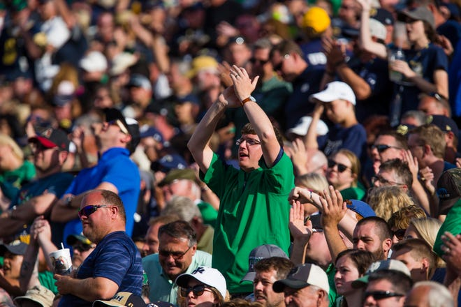 Public single-game tickets sales for Notre Dame football will begin Aug. 19. Pictured, fans celebrate during Notre Dame's home game against Temple in 2017. Photo: Michael Caterina, South Bend Tribune