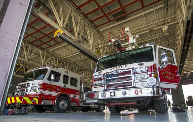 Firetrucks inside Central Fire Station Friday, June 9, 2017, in South Bend.