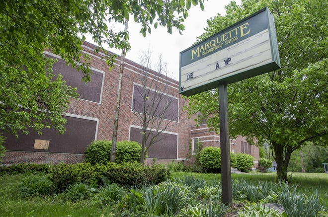 Old Marquette School stands vacant, its windows boarded and its doors locked, on the city's northwest side.Tribune Photo/ROBERT FRANKLIN