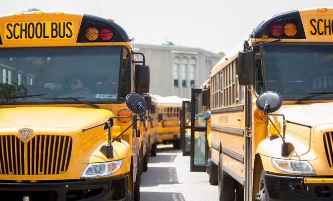 South Bend Community School Corp. buses line up to pick up kids in this file photo. Tribune File Photo/BECKY MALEWITZ
