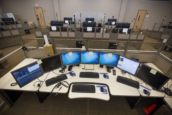 The supervisor's station at St. Joseph County's 911 center in Mishawaka.