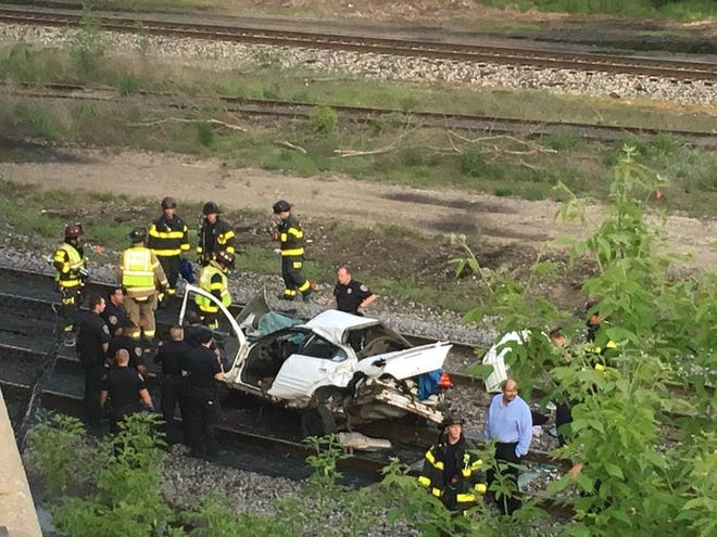 A motorist was traveling east on the Sample Street bridge just east of Olive Street in South Bend Wednesday evening. The driver crashed through a barrier and a fence and landed on the tracks below.