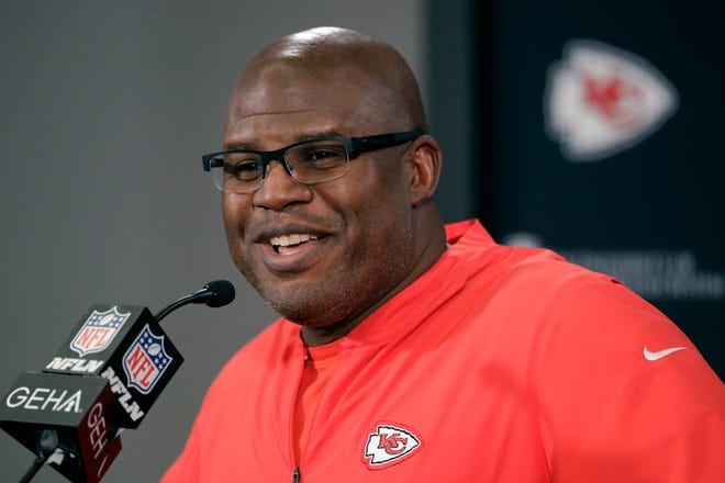 FILE - In this Thursday, Jan. 16, 2020 file photo, Kansas City Chiefs offensive coordinator Eric Bieniemy addresses the media during a news conference for Sunday's NFL AFC championship football game at Arrowhead Stadium in Kansas City, Mo.
