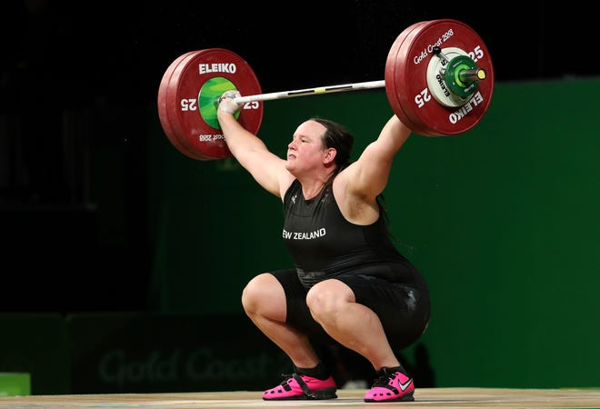 New Zealand's Laurel Hubbard competes in the women's +90kg weightlifting final at the 2018 Commonwealth Games on the Gold Coast, Australia, April 9, 2018. Hubbard will be the first transgender athlete to compete at the Olympics.