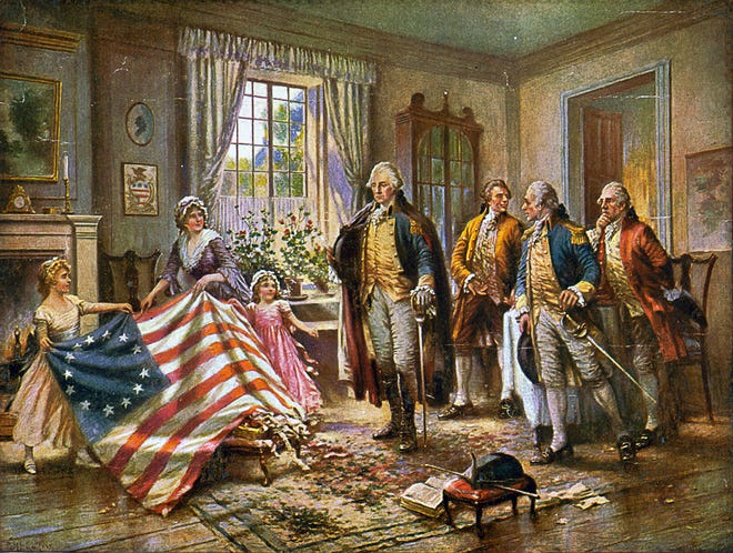 Detail from a 1900 painting by Jean Leon Gerome Ferris depicting Betsy Ross' presentation of the first American flag to then-Gen. George Washington. Unfortunately, it probably didn't happen. Library of Congress
