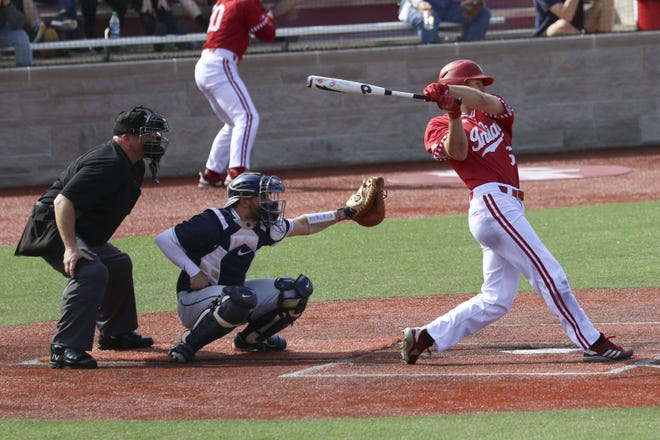 Indiana right fielder Grant Richardson makes contact during the second game of an April 6 doubleheader against Penn State at Bart Kaufman Field. The freshman rightfielder is hitting a team-best .352 with seven home runs and 27 RBIs this season. (Alexis Oser / Herald-Times)
