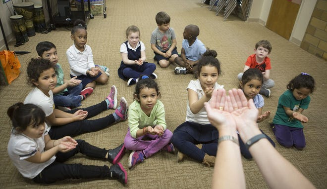 In this South Bend Tribune file photo, students sing and perform movements in the preschool at Holy Cross School in South Bend that's part of the state's On My Way Pre-K program. The IndianaOffice of Early Childhood and Out-of-School Learning is accepting applications for its On My Way Pre-K program. Tribune Photo/SANTIAGO FLORES