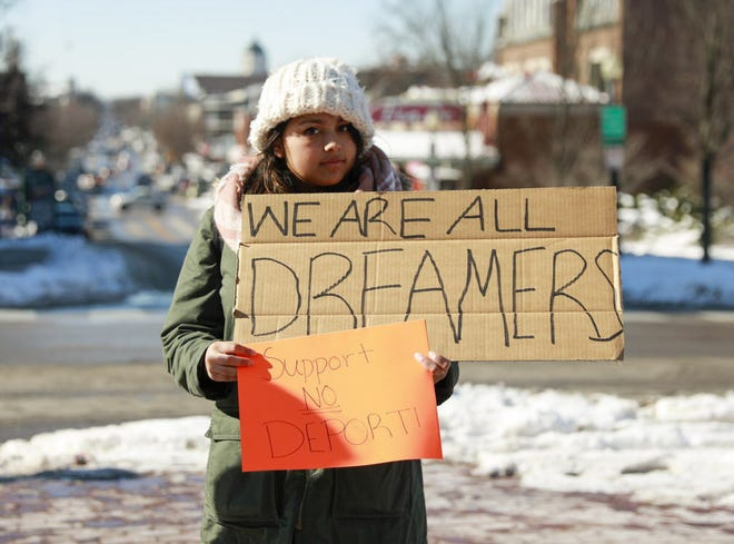 Juana Munguia-Paz participates in a rally in support of DACA, at IU's Sample Gates, January 2018 in Bloomington, Ind. Jeremy Hogan | Herald-Times