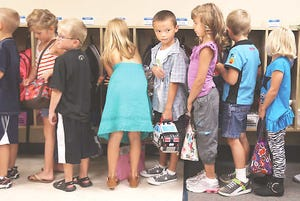 File photo of elementary students in line