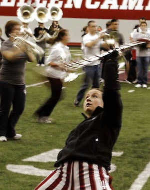 Marching Hundred practices in the Mellencamp Pavillion for entertaining at the Super Bowl in this February photo. Monty Howell | Herald-Times