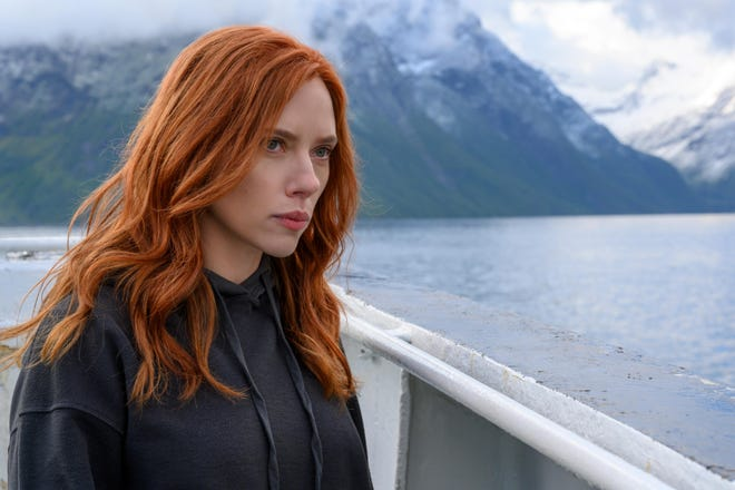"Scarlett Johansson as Natasha Romanoff in a scene from ""Black Widow."""