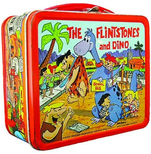 This 1962 vintage metal lunchbox highlights the Flintstones. While the cartoon series ended in 1966, there have been movies and other products keeping the characters in the public eye.