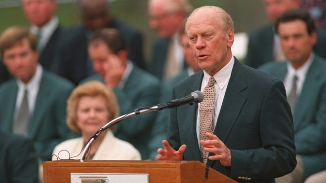 Gerald Ford was named vice president and became president when Richard Nixon resigned on Aug. 9, 1974.