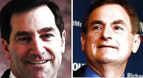Joe Donnelly, Democrat, and Richard Mourdock, Republican, in the Indiana Senate race.