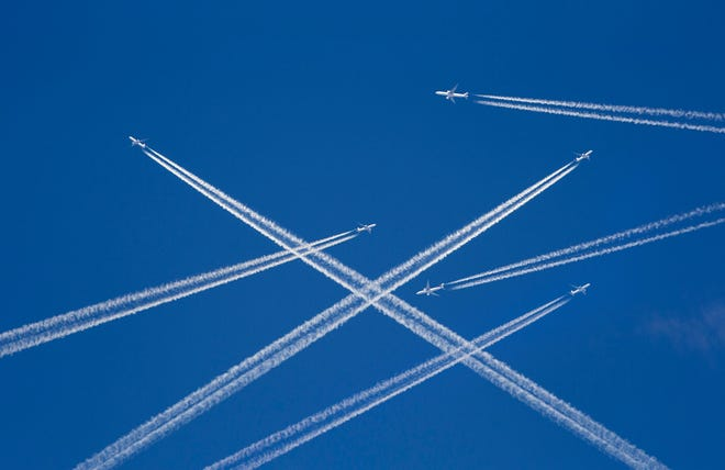 Airplanes in the sky.